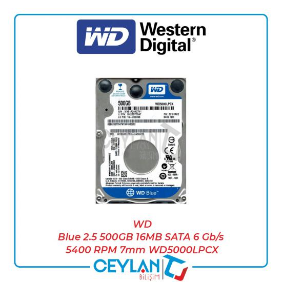 WD Blue 2.5 500GB 16MB SATA 6 Gb/s 5400 RPM 7mm WD5000LPCX
